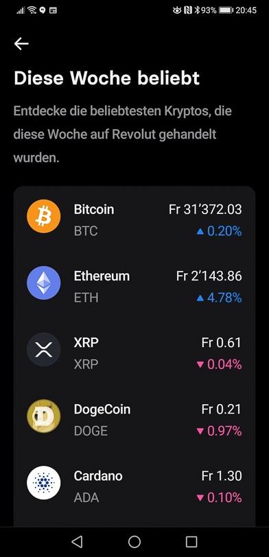 Revolut-App mit Kryptowährungen