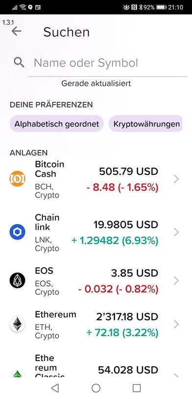Yuh Trading-App mit Kryptowährungen
